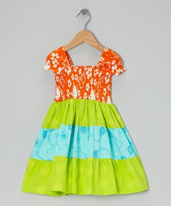 Orange & Lime Green Shirred Tiered Dress - Toddler & Girls
