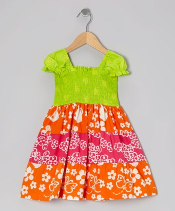 Lime Green & Orange Shirred Tiered Dress - Toddler & Girls