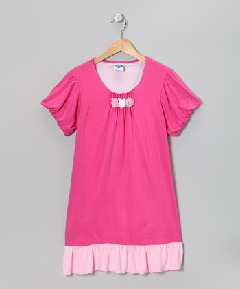 Fuchsia Rosette Puff-Sleeve Dress - Girls