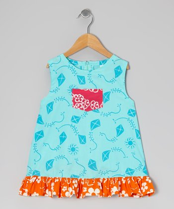 Turquoise Kite Diane Swing Dress - Infant, Toddler & Girls