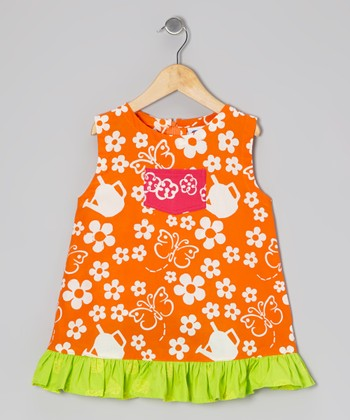 Orange Butterfly Diane Swing Dress - Infant, Toddler & Girls