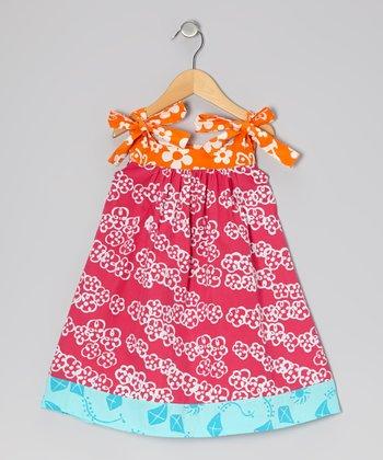 Dark Pink Floral Peggy Swing Dress - Infant, Toddler & Girls
