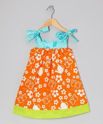 Orange Butterfly Peggy Swing Dress - Infant, Toddler & Girls