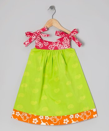 Lime Green Paisley Peggy Swing Dress - Infant, Toddler & Girls