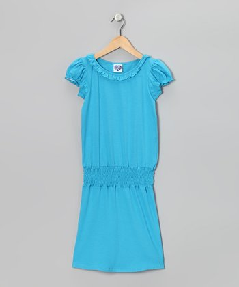 Aqua Ruffle Smocked Dress - Girls