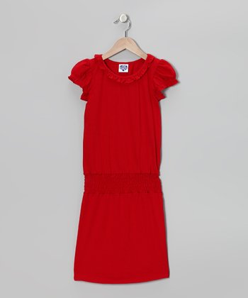 Red Ruffle Smocked Dress - Girls