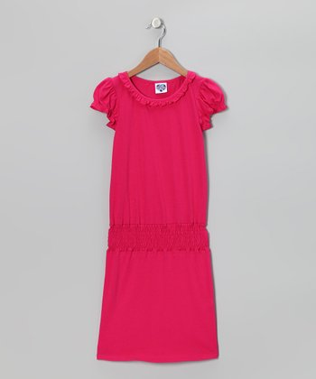 Rose Pink Ruffle Smocked Dress - Girls
