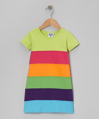 Lime Green & Orange Stripe Dress - Toddler & Girls