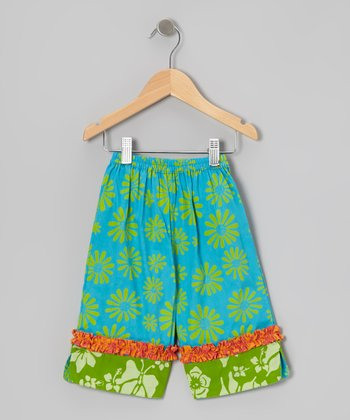 Turquoise & Lime Green Ruffle Capri Pants - Infant, Toddler & Girls