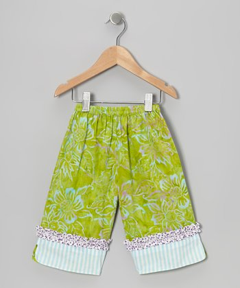 Lime Green Ruffle Capri Pants - Infant, Toddler & Girls