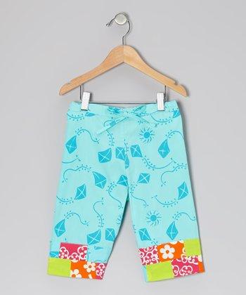 Turquoise Kite Capri Pants - Toddler & Girls