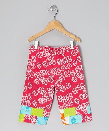 Dark Pink Floral Capri Pants - Toddler & Girls