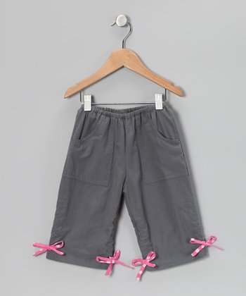 Gray Drawstring Capri Pants - Infant, Toddler & Girls