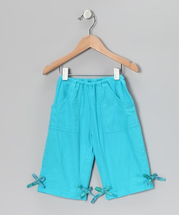 Blue Drawstring Capri Pants - Toddler & Girls
