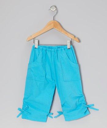 Turquoise Ruched Poplin Capri Pants - Infant, Toddler & Girls
