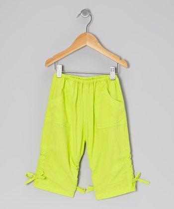 Lime Green Ruched Poplin Capri Pants - Infant, Toddler & Girls