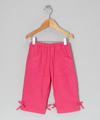 Dark Pink Ruched Poplin Capri Pants - Infant, Toddler & Girls
