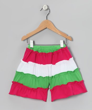 Fresh Fruit & Pink Tiered Gaucho Shorts - Toddler & Girls