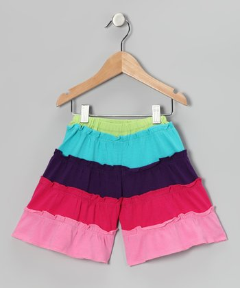 Rainbow Tiered Gaucho Shorts - Infant, Toddler & Girls
