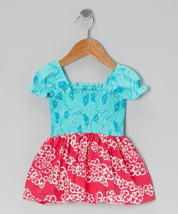 Turquoise & Dark Pink Peasant Top - Toddler & Girls