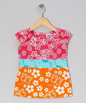 Dark Pink & Orange Joy's Top - Toddler & Girls