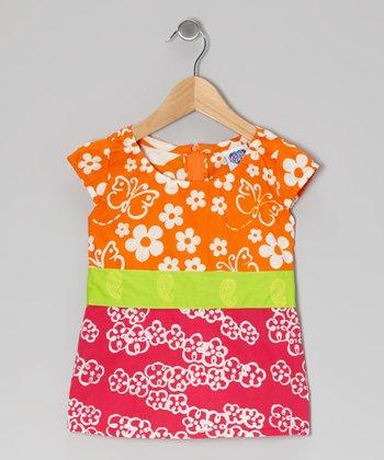 Orange & Dark Pink Joy's Top - Toddler & Girls