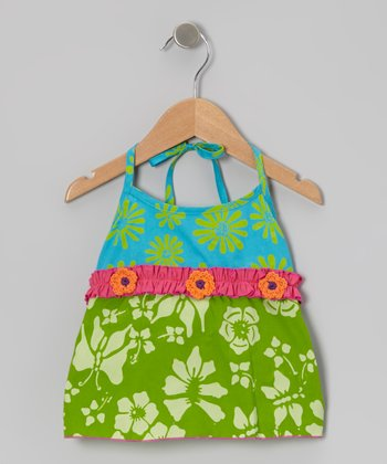 Turquoise & Lime Green Halter Tank - Toddler & Girls