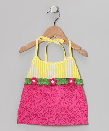 Pink & Yellow Flower Halter Top - Toddler & Girls