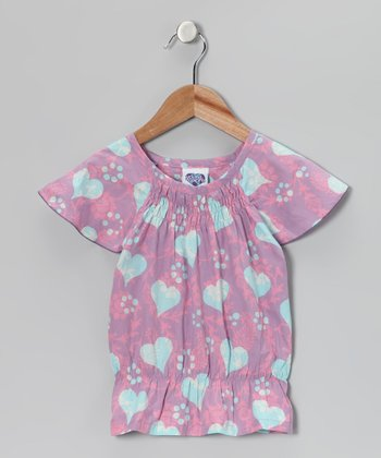 Purple & Blue Heart Smocked Top - Toddler & Girls