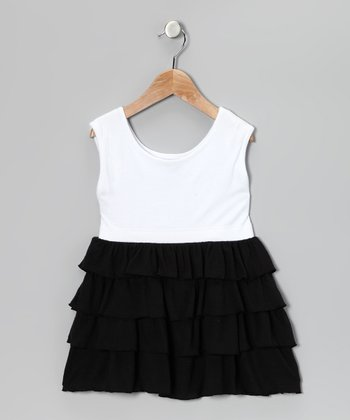 Black & White Tiered Tunic - Girls