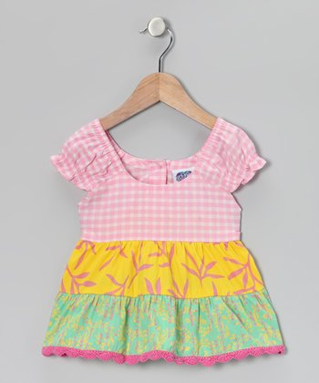 Pink & Yellow Gingham Tiered Top - Infant, Toddler & Girls