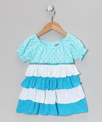 Blue & White Tiered Peasant Top - Toddler & Girls