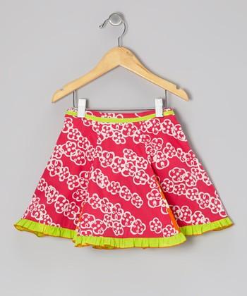 Dark Pink Floral Flare Skirt - Toddler & Girls