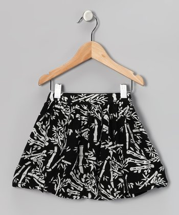 Black & White Bamboo Bubble Skirt - Toddler & Girls