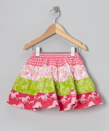 Dark Pink & Lime Green Flo's Tiered Skirt - Infant, Toddler & Girls