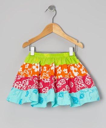 Lime Green & Orange Tiered Skirt - Toddler & Girls