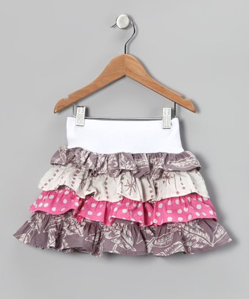 White & Gray Tiered Skirt - Toddler & Girls