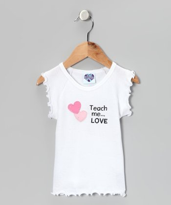 White 'Teach Me' Lettuce-Edge Tee - Infant, Toddler & Girls