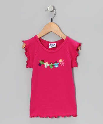 Fuchsia Friendship Lettuce-Edge Tee - Infant, Toddler & Girls