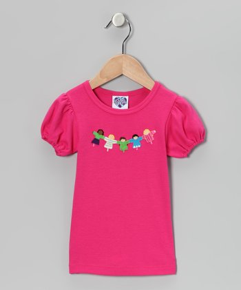 Fuchsia Friendship Puff-Sleeve Tee - Infant, Toddler & Girls