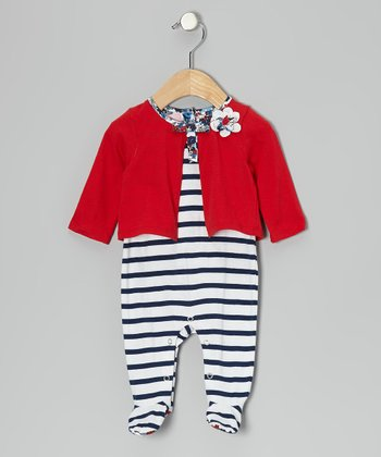 White Stripe Cardigan Footie - Infant