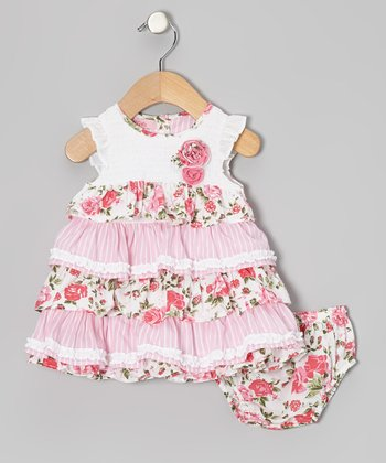 Pink Floral Ruffle Dress - Infant, Toddler & Girls