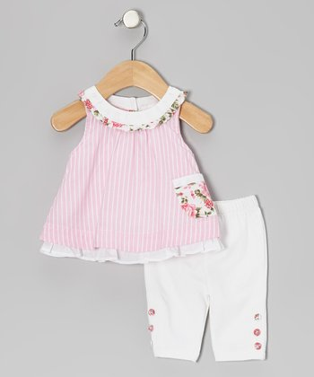Pink Stripe Tunic & White Leggings - Infant, Toddler & Girls