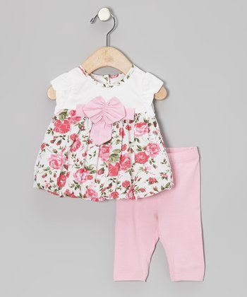 Pink Floral Bubble Tunic & Leggings - Infant, Toddler & Girls