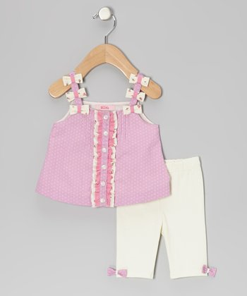 Pink Bow Strap Tunic & Cream Leggings - Infant, Toddler & Girls