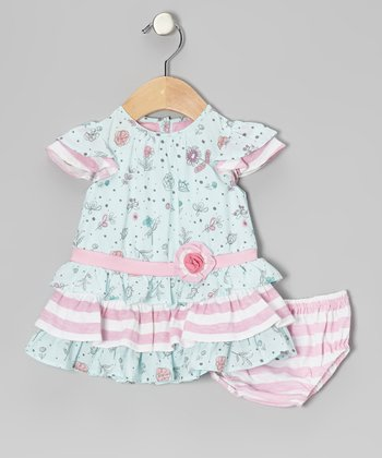 Blue Floral Drop Waist Dress - Infant, Toddler & Girls