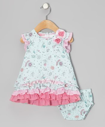 Blue Floral Ruffle Dress - Infant, Toddler & Girls