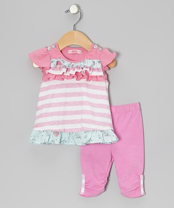 Pink Stripe Ruffle Tunic & Leggings - Infant, Toddler & Girls