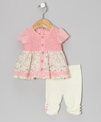 Pink Shirred Button Tunic & Leggings - Infant, Toddler & Girls