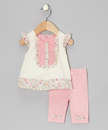 Cream Angel-Sleeve Tunic & Leggings - Infant, Toddler & Girls